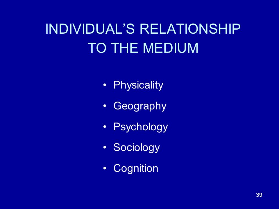 39 INDIVIDUALS RELATIONSHIP TO THE MEDIUM Physicality Geography Psychology Sociology Cognition