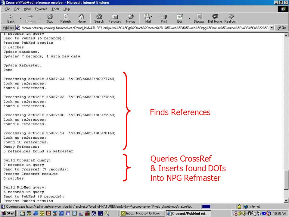 Finds References Queries CrossRef & Inserts found DOIs into NPG Refmaster