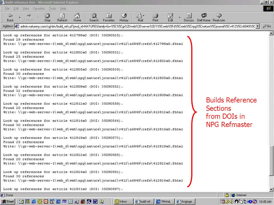 Builds Reference Sections from DOIs in NPG Refmaster