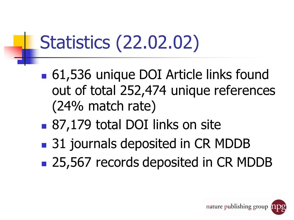 Statistics ( ) 61,536 unique DOI Article links found out of total 252,474 unique references (24% match rate) 87,179 total DOI links on site 31 journals deposited in CR MDDB 25,567 records deposited in CR MDDB