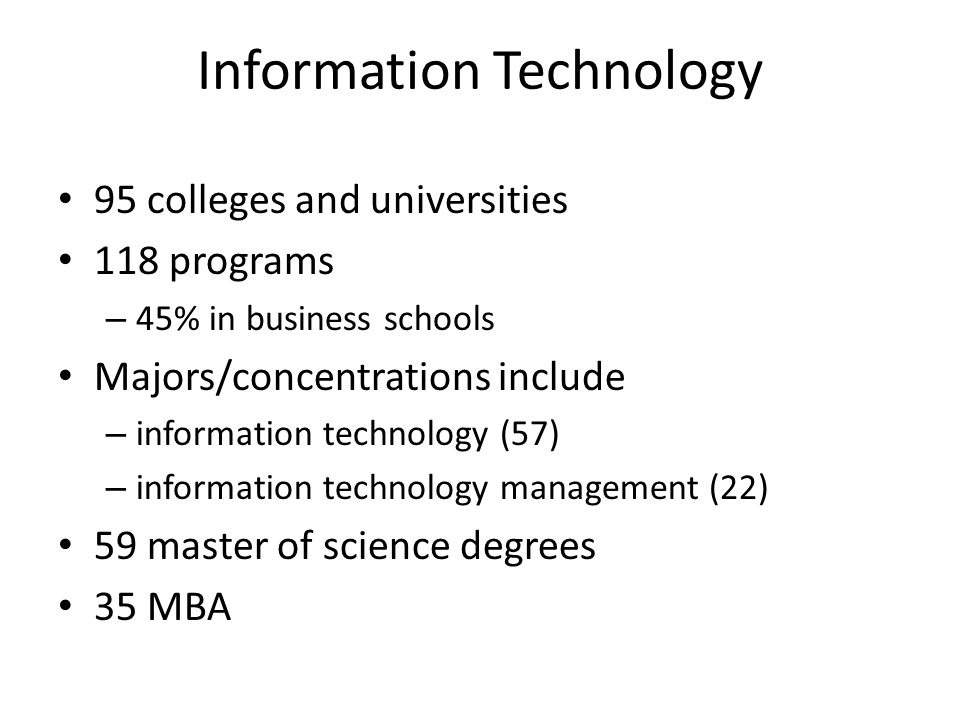 Information Technology 95 colleges and universities 118 programs – 45% in business schools Majors/concentrations include – information technology (57) – information technology management (22) 59 master of science degrees 35 MBA