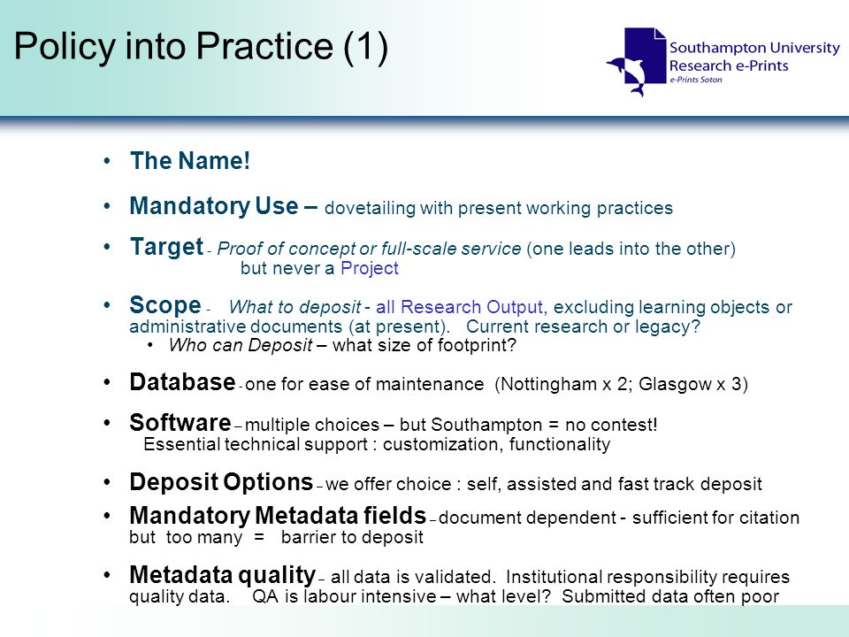 Policy into Practice (1) The Name.