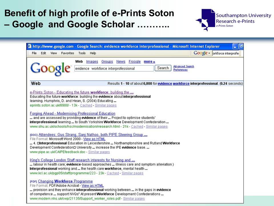 Benefit of high profile of e-Prints Soton – Google and Google Scholar ………..