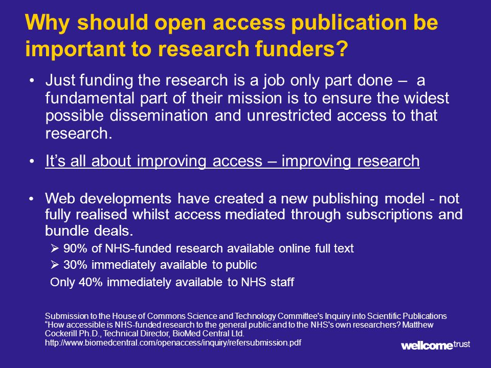 Why should open access publication be important to research funders.
