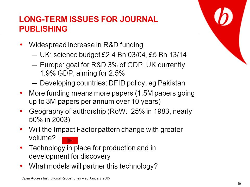 Open Access Institutional Repositories – 26 January 2005 10 LONG-TERM ISSUES FOR JOURNAL PUBLISHING Widespread increase in R&D funding – UK: science budget £2.4 Bn 03/04, £5 Bn 13/14 – Europe: goal for R&D 3% of GDP, UK currently 1.9% GDP, aiming for 2.5% – Developing countries: DFID policy, eg Pakistan More funding means more papers (1.5M papers going up to 3M papers per annum over 10 years) Geography of authorship (RoW: 25% in 1983, nearly 50% in 2003) Will the Impact Factor pattern change with greater volume.