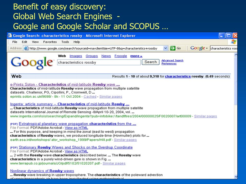 Benefit of easy discovery: Global Web Search Engines - Google and Google Scholar and SCOPUS …