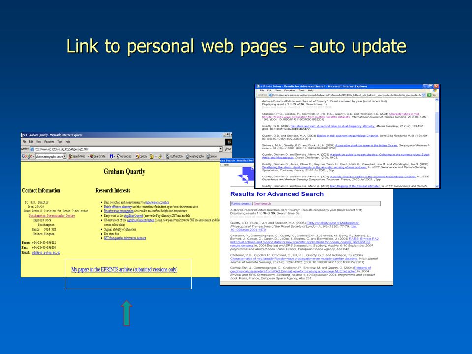 Link to personal web pages – auto update
