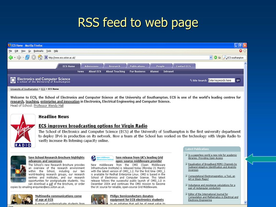 RSS feed to web page