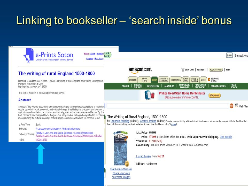 Linking to bookseller – search inside bonus