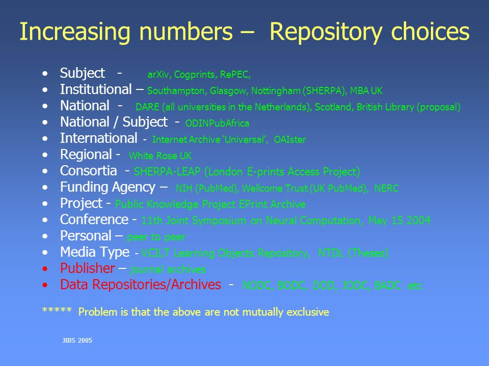 JIBS 2005 Increasing numbers – Repository choices Subject - arXiv, Cogprints, RePEC, Institutional – Southampton, Glasgow, Nottingham (SHERPA), MBA UK National - DARE (all universities in the Netherlands), Scotland, British Library (proposal) National / Subject - ODINPubAfrica International - Internet Archive Universal, OAIster Regional - White Rose UK Consortia - SHERPA-LEAP (London E-prints Access Project) Funding Agency – NIH (PubMed), Wellcome Trust (UK PubMed), NERC Project - Public Knowledge Project EPrint Archive Conference - 11th Joint Symposium on Neural Computation, May 15 2004 Personal – peer to peer Media Type - VCILT Learning Objects Repository, NTDL (Theses) Publisher – journal archives Data Repositories/Archives - NODC, BODC, DOD, JODC, BADC etc ***** Problem is that the above are not mutually exclusive