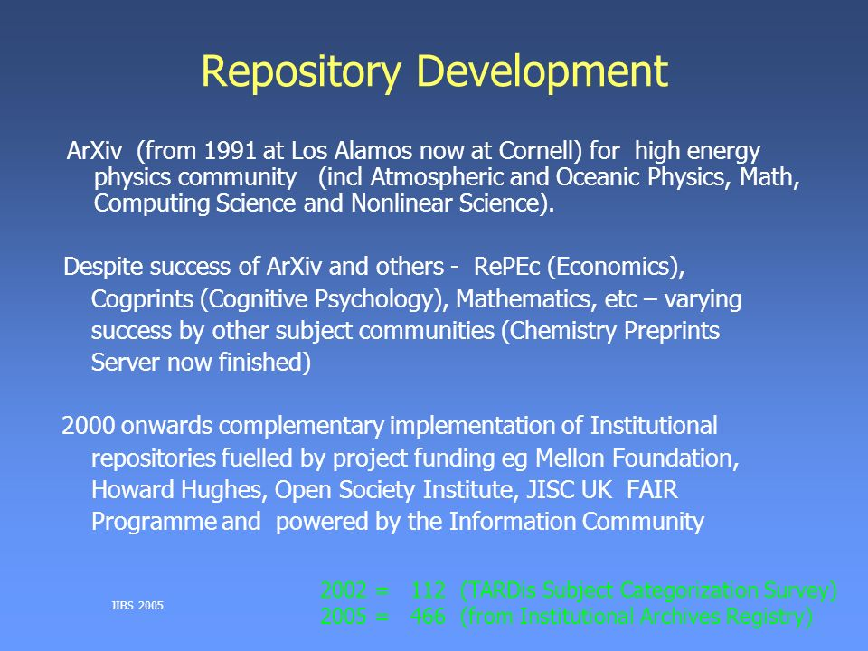 JIBS 2005 Repository Development ArXiv (from 1991 at Los Alamos now at Cornell) for high energy physics community (incl Atmospheric and Oceanic Physics, Math, Computing Science and Nonlinear Science).