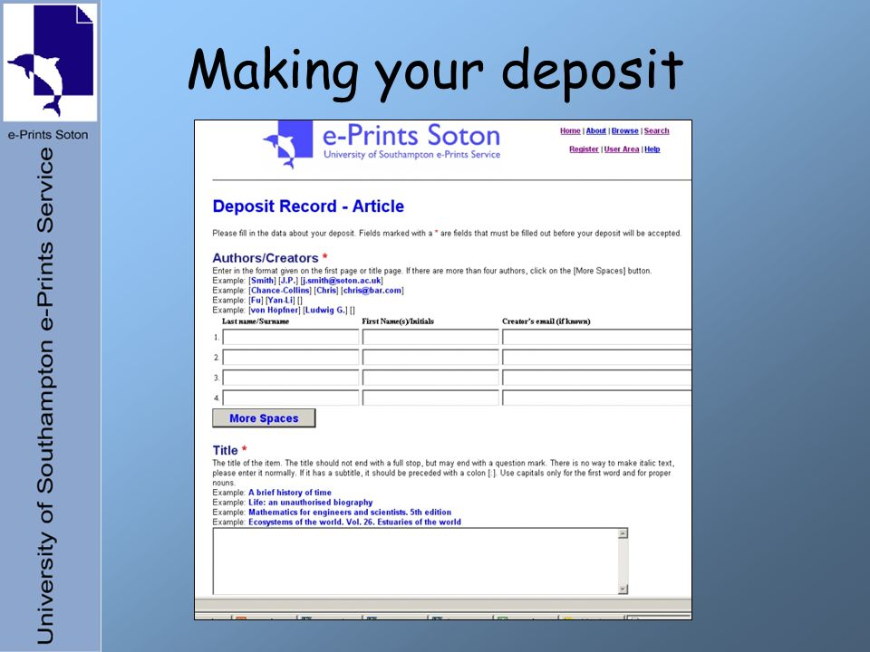 Making your deposit