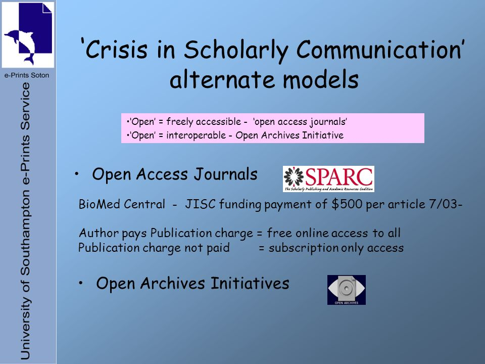 Crisis in Scholarly Communication alternate models Open Access Journals Open Archives Initiatives Open = freely accessible - open access journals Open = interoperable - Open Archives Initiative BioMed Central - JISC funding payment of $500 per article 7/03- Author pays Publication charge = free online access to all Publication charge not paid = subscription only access