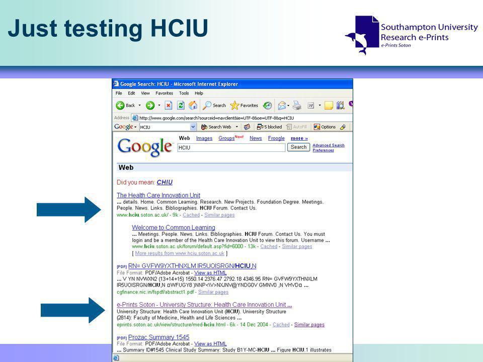 Just testing HCIU