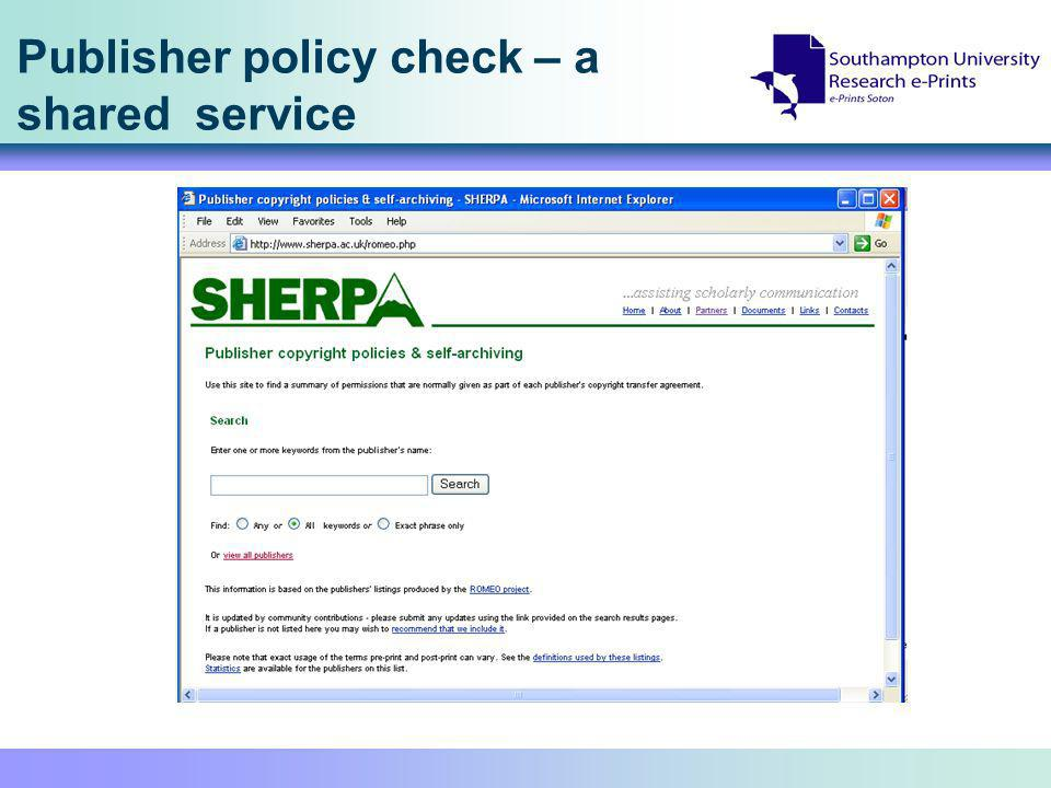 Publisher policy check – a shared service