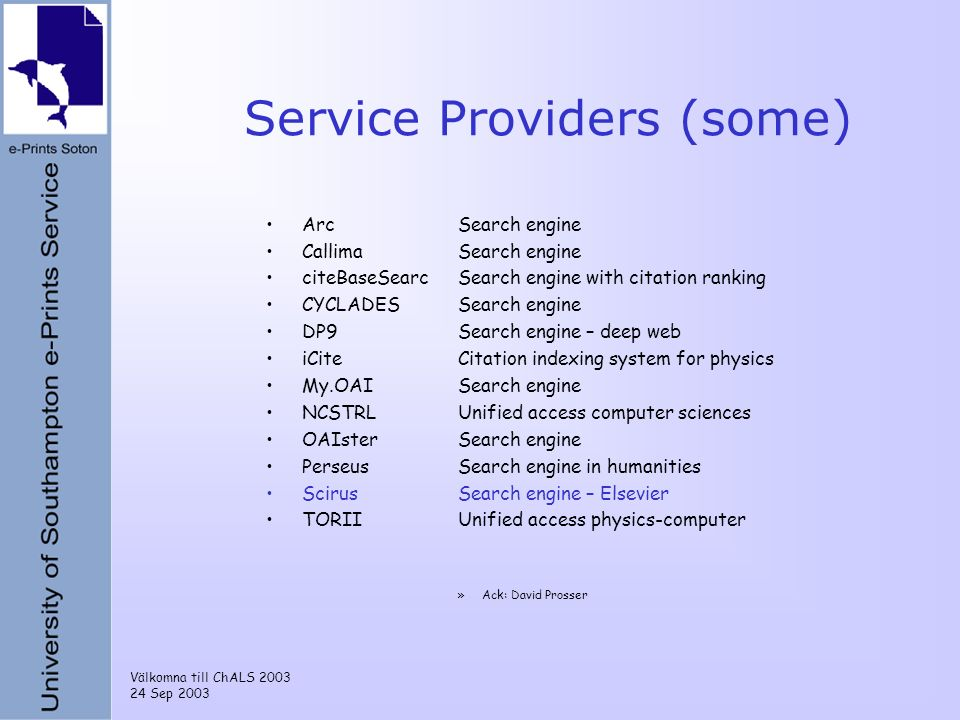 Välkomna till ChALS 2003 24 Sep 2003 Service Providers (some) ArcSearch engine CallimaSearch engine citeBaseSearcSearch engine with citation ranking C