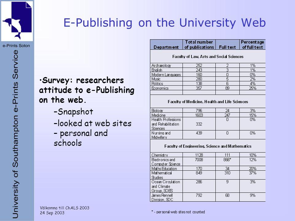 Välkomna till ChALS 2003 24 Sep 2003 E-Publishing on the University Web Survey: researchers attitude to e-Publishing on the web.