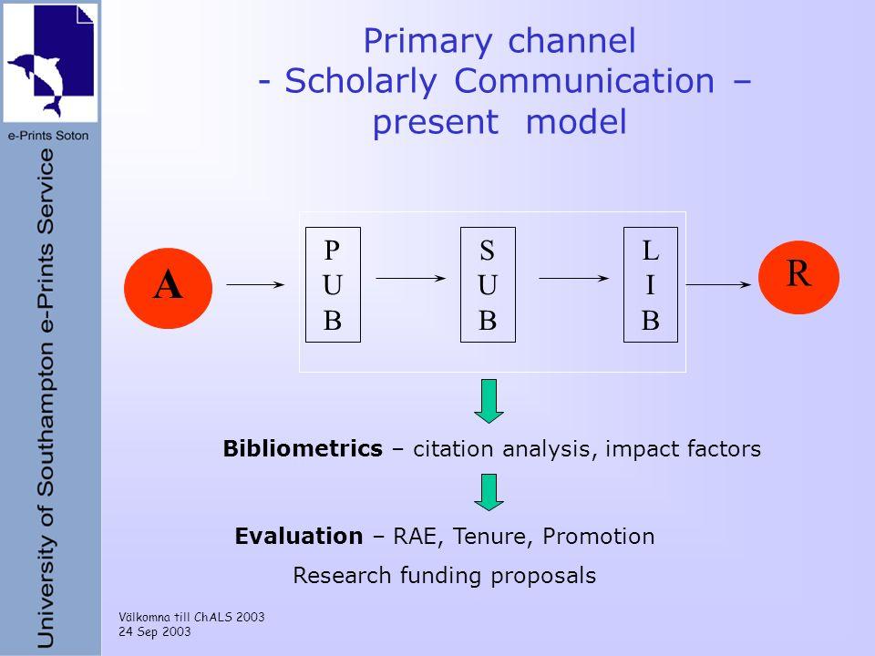 Välkomna till ChALS 2003 24 Sep 2003 PUBPUB SUBSUB LIBLIB A R Primary channel - Scholarly Communication – present model Bibliometrics – citation analy