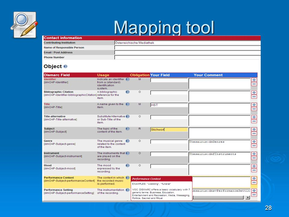 28 Mapping tool