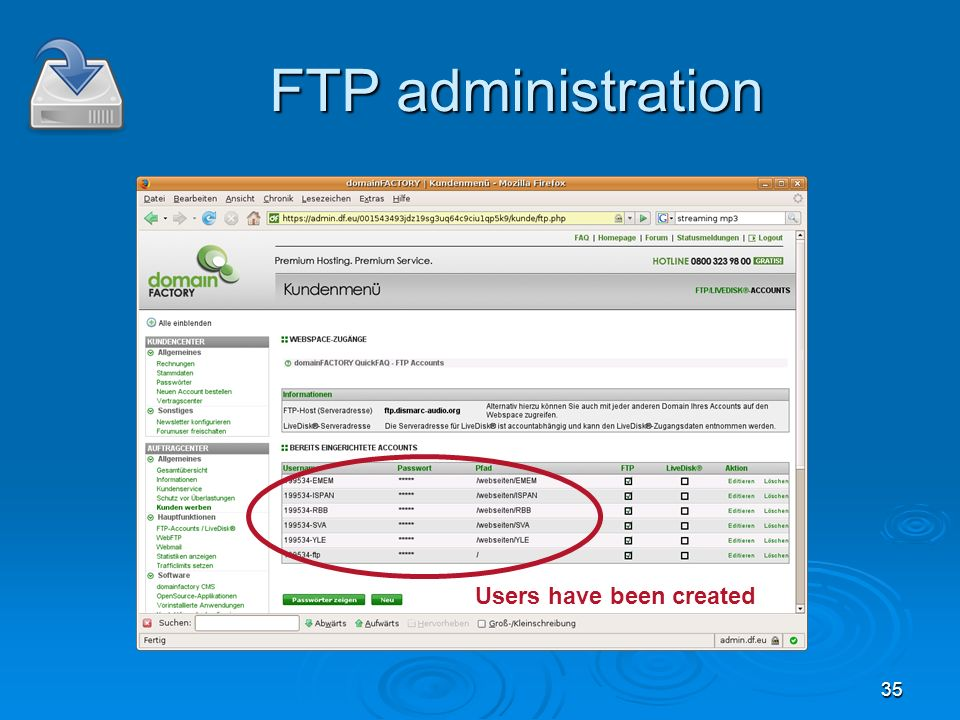35 FTP administration Users have been created