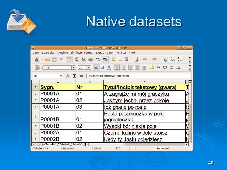 40 Native datasets