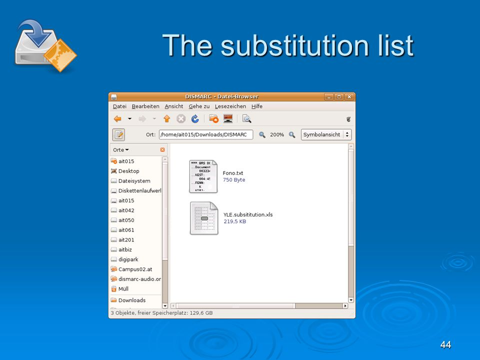 44 The substitution list