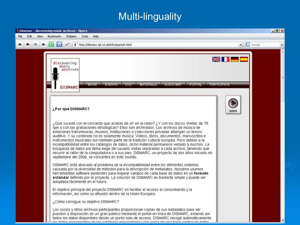 91 Multi-linguality