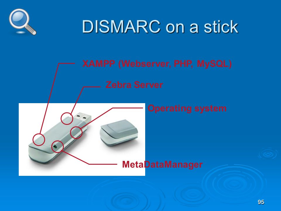 95 DISMARC on a stick XAMPP (Webserver, PHP, MySQL) Zebra Server Operating system MetaDataManager