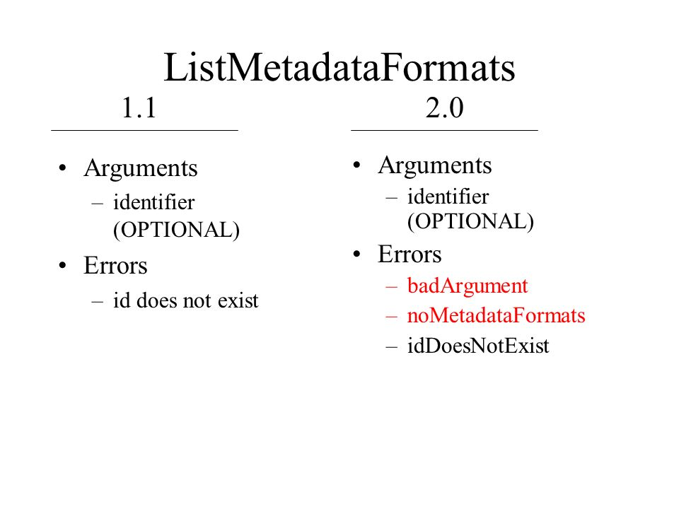 ListMetadataFormats Arguments –identifier (OPTIONAL) Errors –id does not exist Arguments –identifier (OPTIONAL) Errors –badArgument –noMetadataFormats –idDoesNotExist