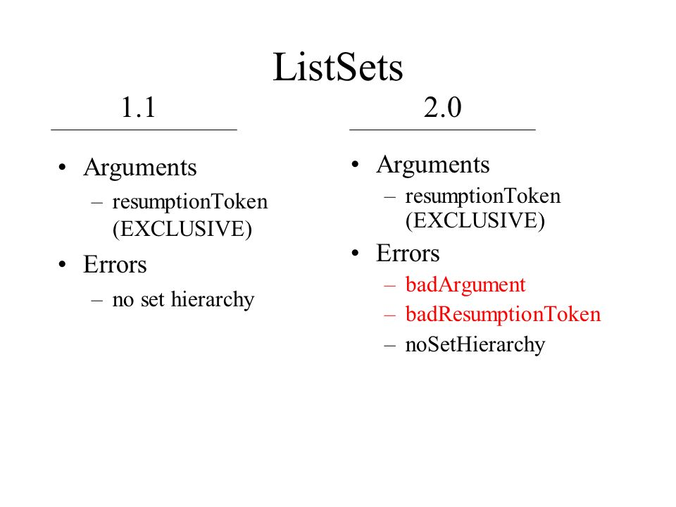 ListSets Arguments –resumptionToken (EXCLUSIVE) Errors –no set hierarchy Arguments –resumptionToken (EXCLUSIVE) Errors –badArgument –badResumptionToken –noSetHierarchy