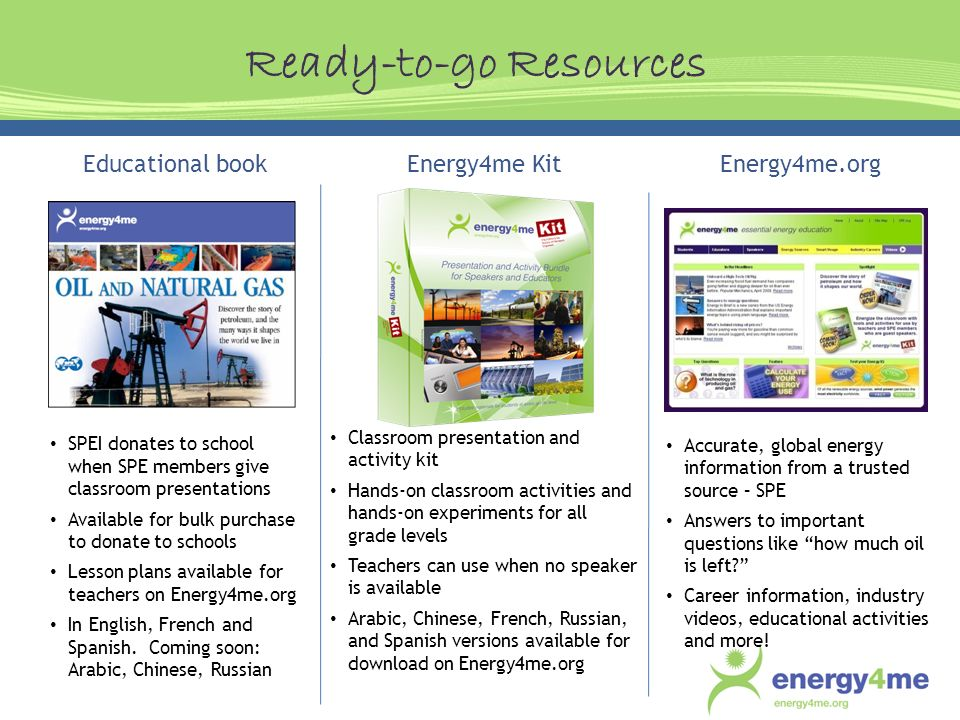 Educational book SPEI donates to school when SPE members give classroom presentations Available for bulk purchase to donate to schools Lesson plans available for teachers on Energy4me.org In English, French and Spanish.
