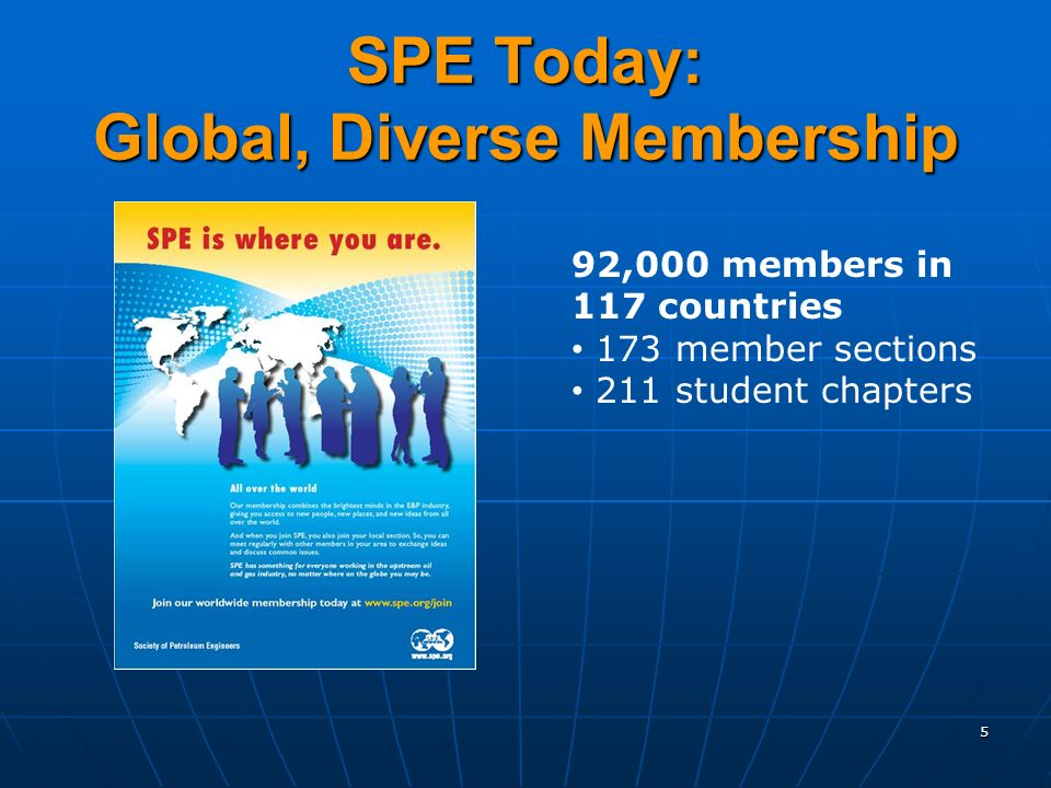 5 SPE Today: Global, Diverse Membership 92,000 members in 117 countries 173 member sections 211 student chapters