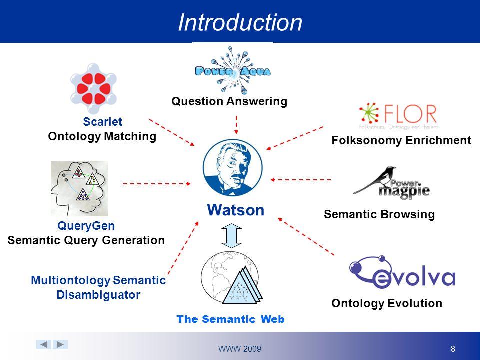 WWW 20099 Ontology terms Synonym expansion integration Sense clustering Keyword maps Synonym maps Senses (each synonym map) Watson Similarity > threshold.