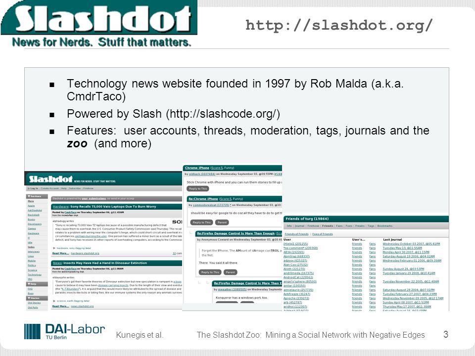 Kunegis et al.The Slashdot Zoo: Mining a Social Network with Negative Edges 23 References S.