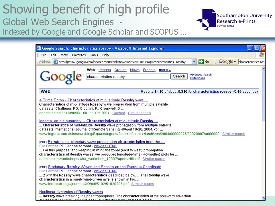 Showing benefit of high profile Global Web Search Engines - indexed by Google and Google Scholar and SCOPUS …