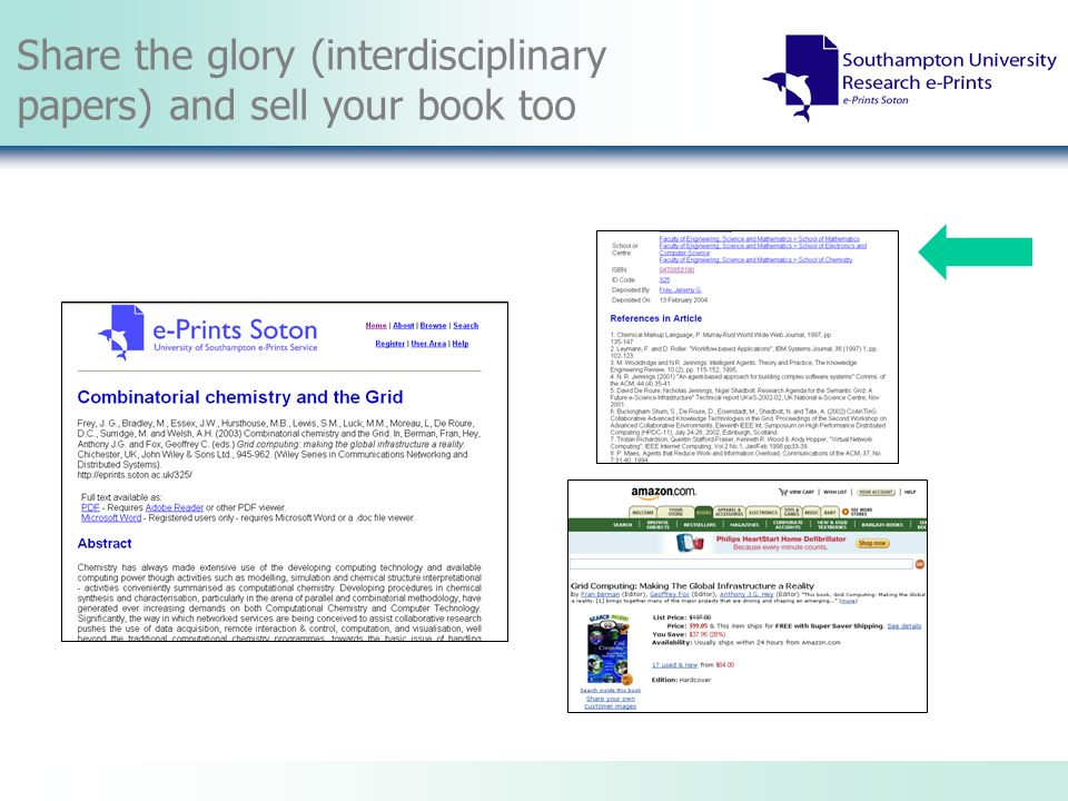 Share the glory (interdisciplinary papers) and sell your book too