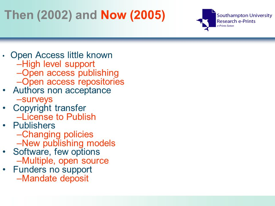 Then (2002) and Now (2005) Open Access little known –High level support –Open access publishing –Open access repositories Authors non acceptance –surveys Copyright transfer –License to Publish Publishers –Changing policies –New publishing models Software, few options –Multiple, open source Funders no support –Mandate deposit