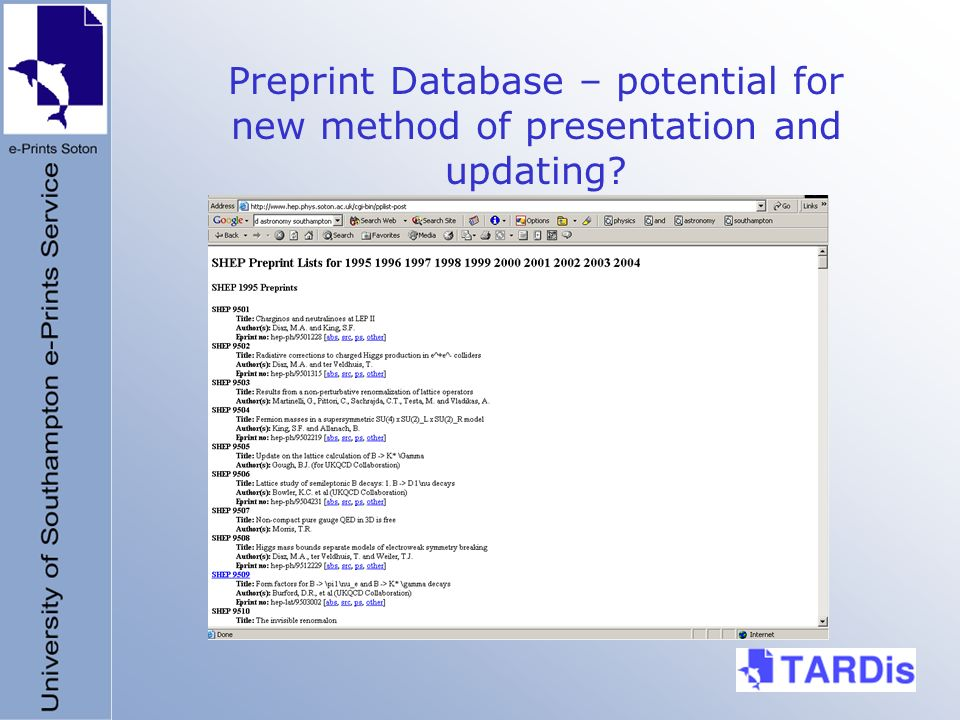Preprint Database – potential for new method of presentation and updating