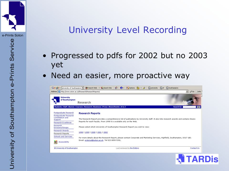 University Level Recording Progressed to pdfs for 2002 but no 2003 yet Need an easier, more proactive way
