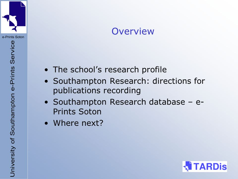 Overview The schools research profile Southampton Research: directions for publications recording Southampton Research database – e- Prints Soton Wher