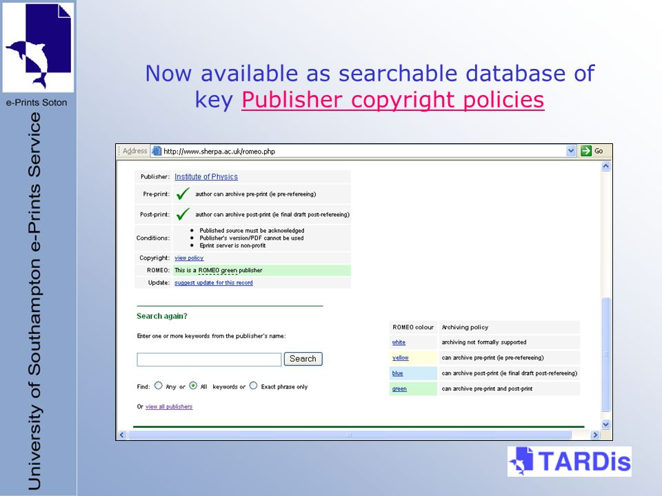 Now available as searchable database of key Publisher copyright policiesPublisher copyright policies