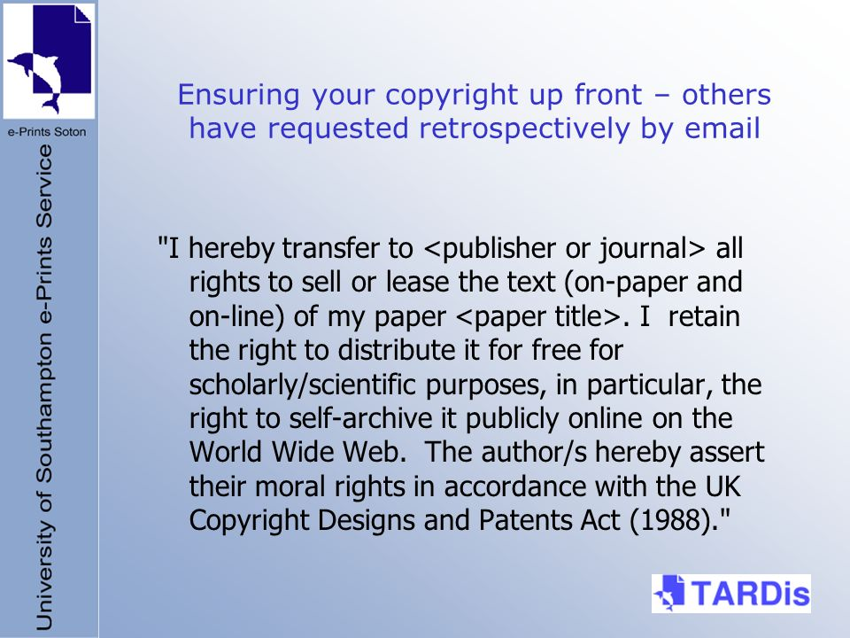 Ensuring your copyright up front – others have requested retrospectively by email