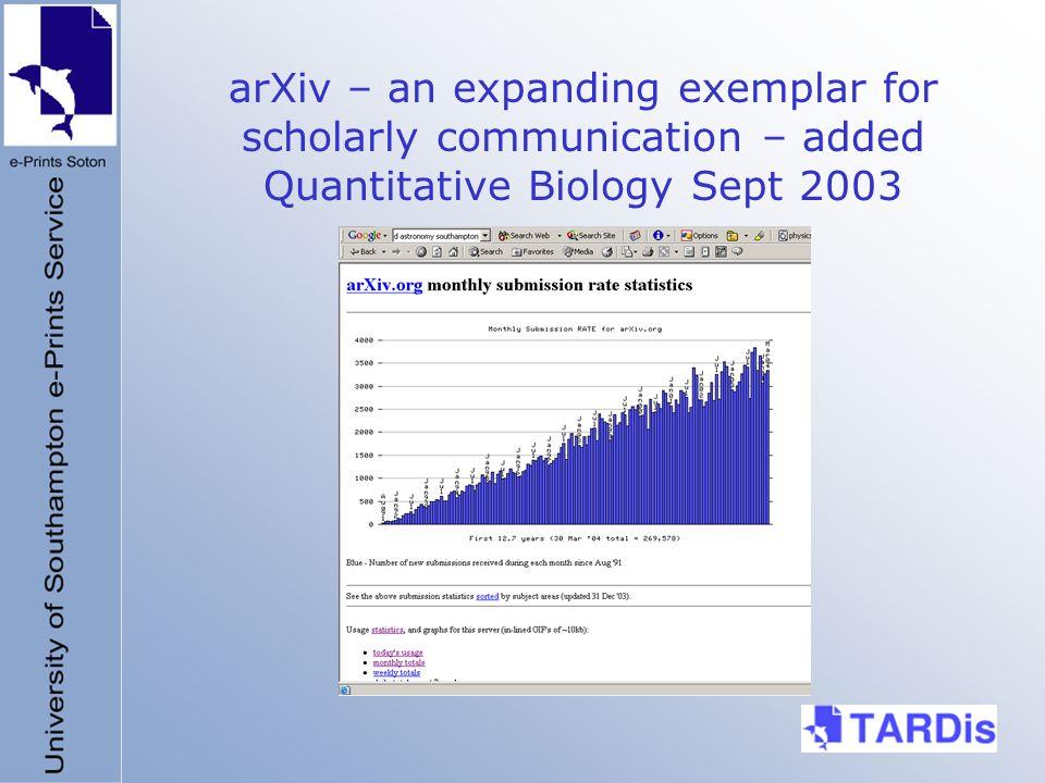 arXiv – an expanding exemplar for scholarly communication – added Quantitative Biology Sept 2003