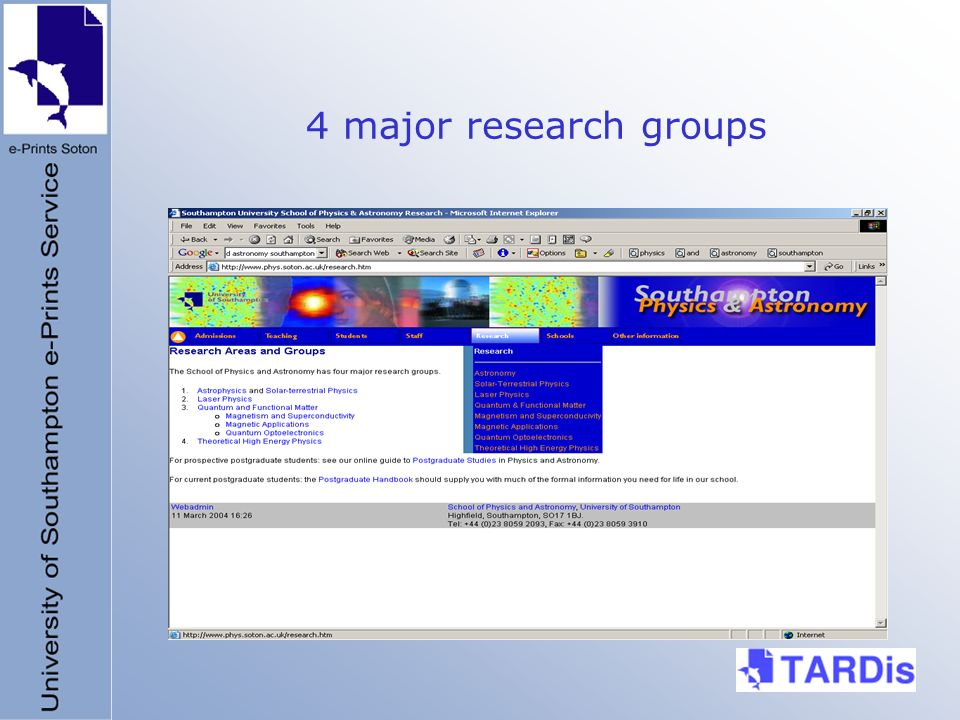 4 major research groups