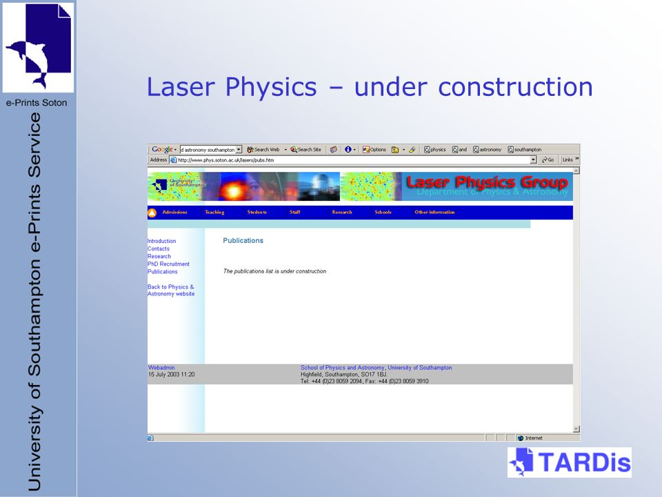 Laser Physics – under construction