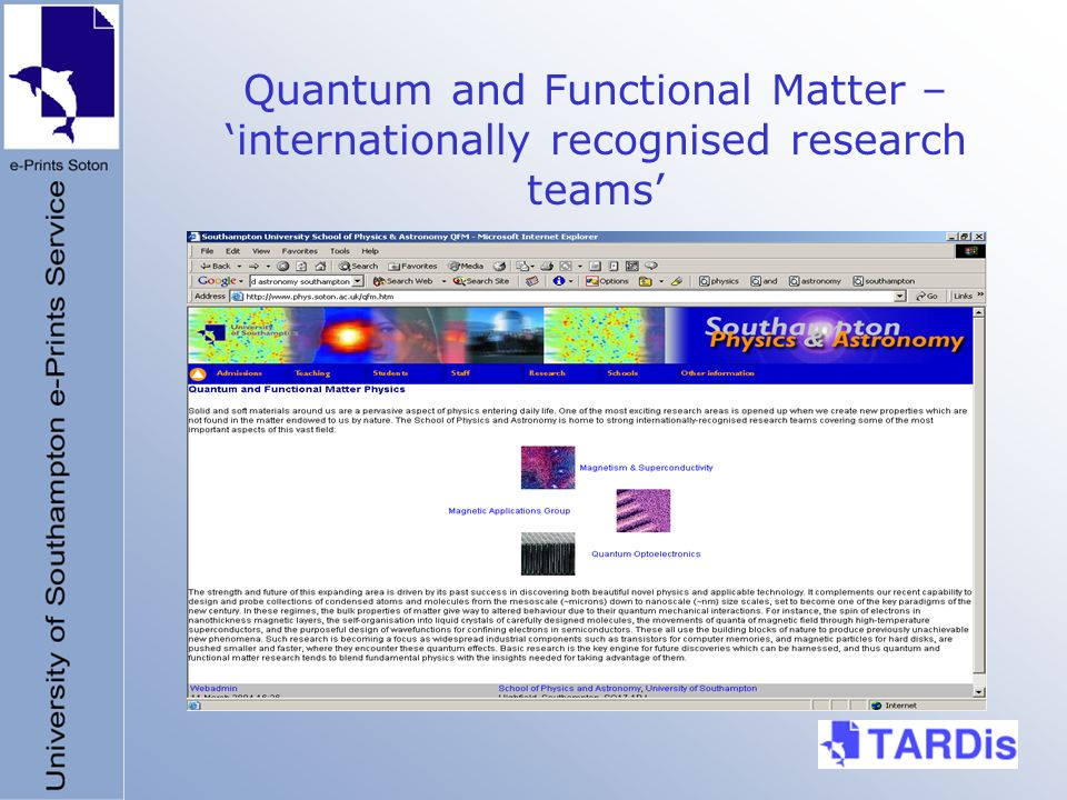 Quantum and Functional Matter – internationally recognised research teams