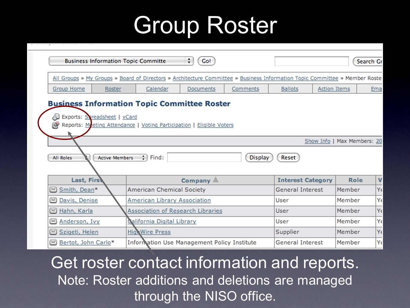 Get roster contact information and reports.