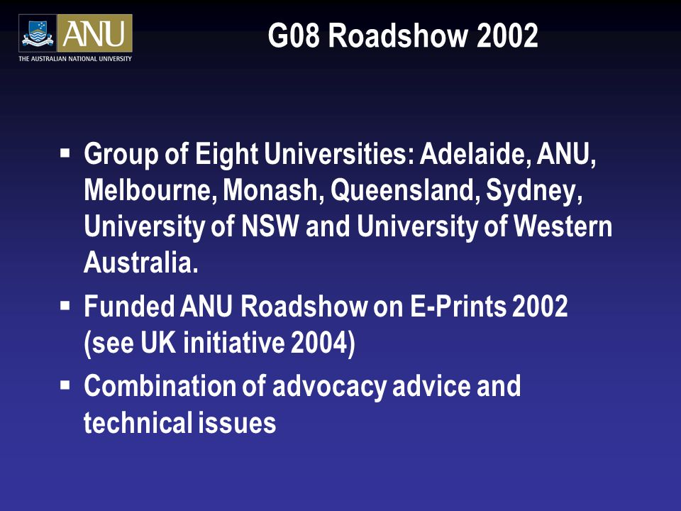 Australian Government Grants: October 2003 $12 million Australian to make Australias research information … more easily accessible and better managed Acting Minister for Education, Science and Training Four projects covering 15 Australian universities, Australian and international libraries, industry representatives and international organisations