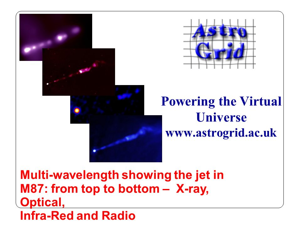 Powering the Virtual Universe www.astrogrid.ac.uk Multi-wavelength showing the jet in M87: from top to bottom – X-ray, Optical, Infra-Red and Radio