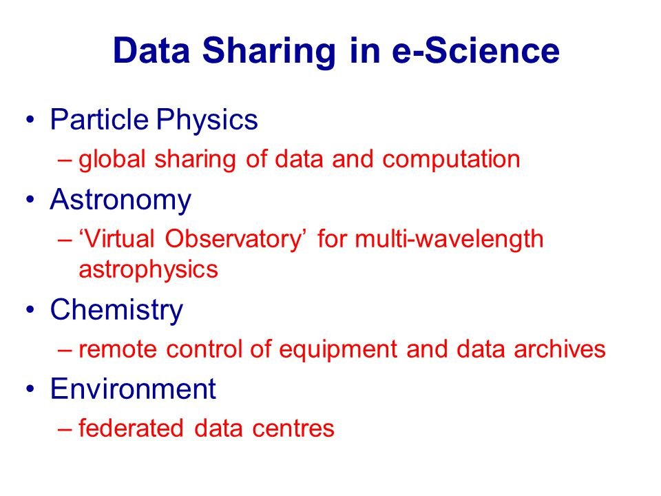 Data Sharing in e-Science Particle Physics –global sharing of data and computation Astronomy –Virtual Observatory for multi-wavelength astrophysics Ch
